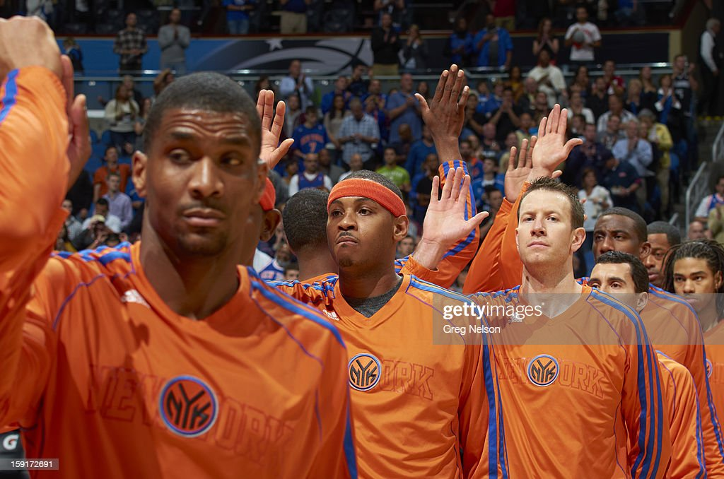 New York Knicks Carmelo Anthony (C) and Steve Novak before game vs Orlando Magic at Amway Center. Greg Nelson F12 )