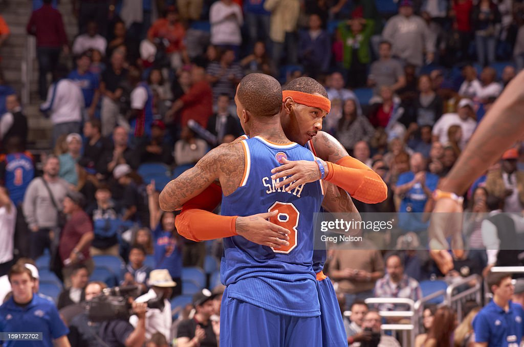 New York Knicks Carmelo Anthony (7) victorious hugging J.R. Smith (8) during game vs Orlando Magic at Amway Center. Greg Nelson F74 )