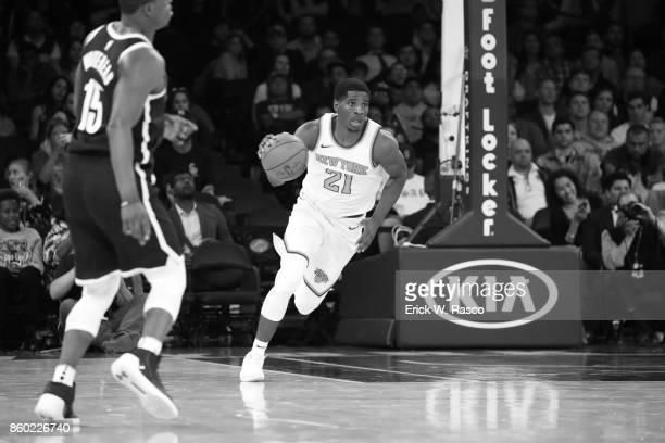 New York Knicks Damyean Dotson in action vs Brooklyn Nets during preseason game at Madison Square Garden New York NY CREDIT Erick W Rasco