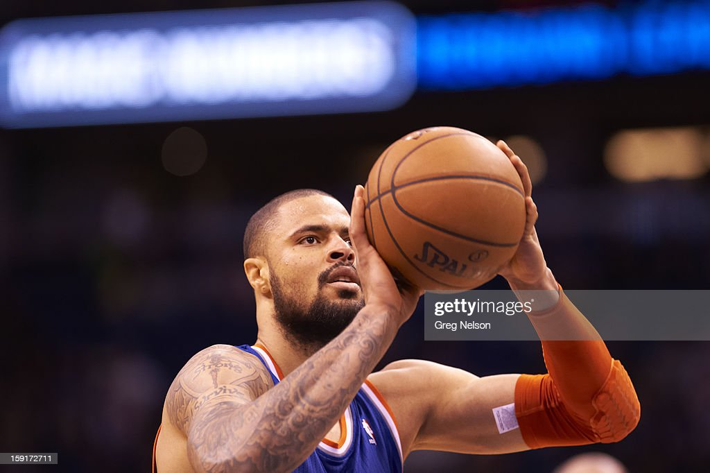 New York Knicks Tyson Chandler (6) during free throw vs Orlando Magic at Amway Center. Greg Nelson F3 )