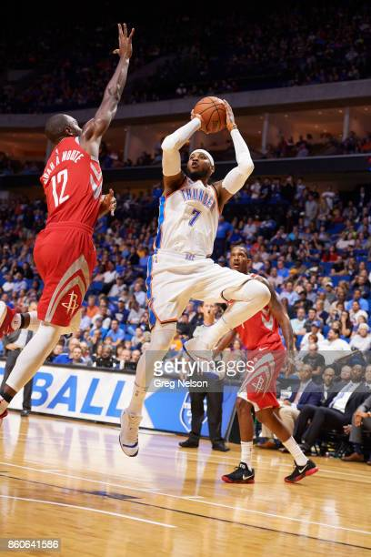 Oklahoma City Thunder Carmelo Anthony in action shooting vs Houston Rockets during preseason game at BOK Center Tulsa OK CREDIT Greg Nelson