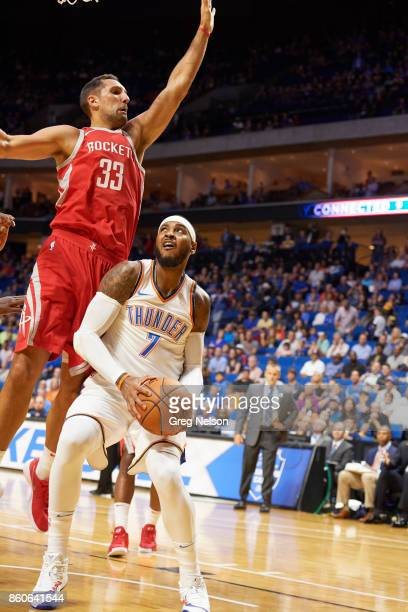 Oklahoma City Thunder Carmelo Anthony in action vs Houston Rockets Ryan Anderson during preseason game at BOK Center Tulsa OK CREDIT Greg Nelson