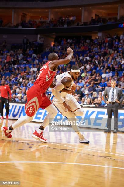 Oklahoma City Thunder Carmelo Anthony in action vs Houston Rockets during preseason game at BOK Center Tulsa OK CREDIT Greg Nelson