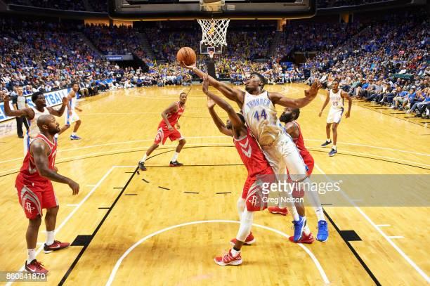Oklahoma City Thunder Dakari Johnson in action vs Houston Rockets during preseason game at BOK Center Tulsa OK CREDIT Greg Nelson
