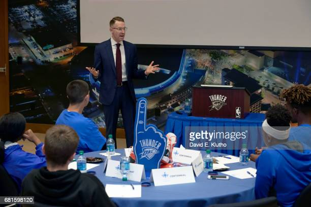 Oklahoma City Thunder general manager Sam Presti addressing group of high school sophomores and juniors from Centennial partaking in the Forward...