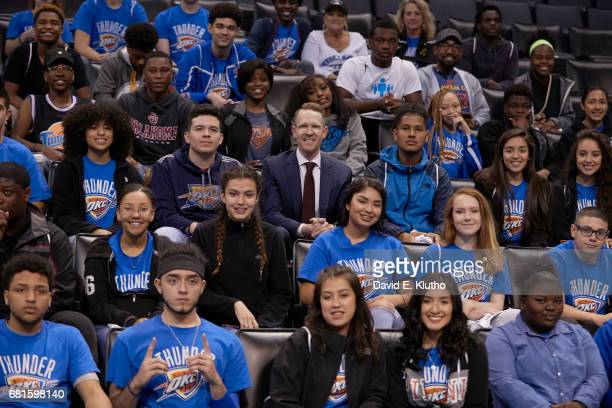 Oklahoma City Thunder general manager Sam Presti with group of high school sophomores and juniors from Centennial partaking in the Forward Thinking...