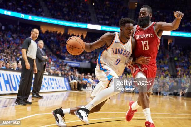 Oklahoma City Thunder Jerami Grant in action vs Houston Rockets James Harden during preseason game at BOK Center Tulsa OK CREDIT Greg Nelson