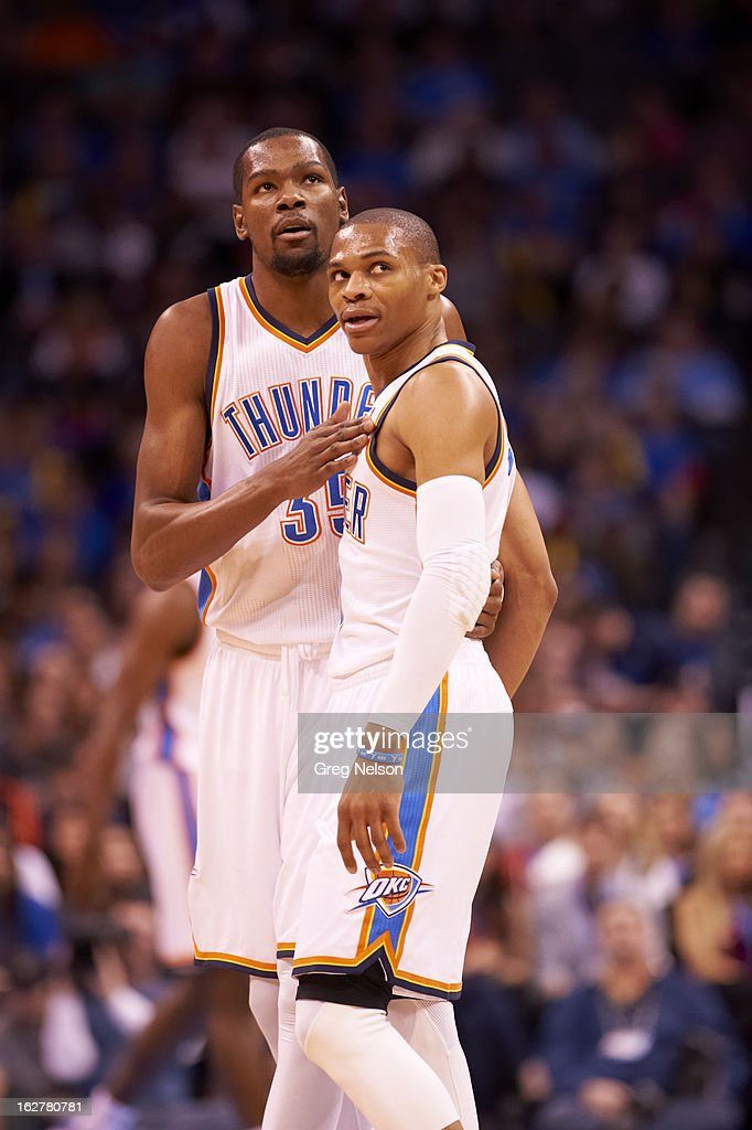 Oklahoma City Thunder Kevin Durant (35) and Russell Westbrook (0) during game vs Chicago Bulls at Chesapeake Energy Arena. Greg Nelson F55 )