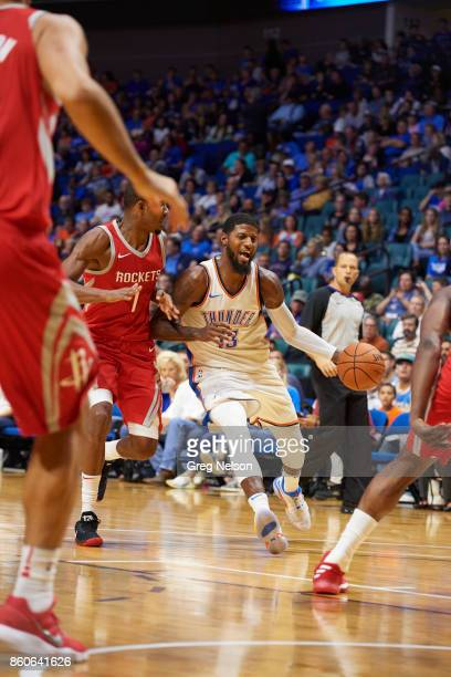 Oklahoma City Thunder Paul George in action vs Houston Rockets during preseason game at BOK Center Tulsa OK CREDIT Greg Nelson