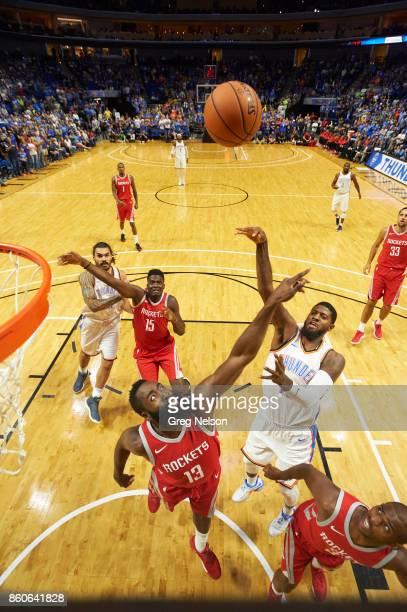 Oklahoma City Thunder Paul George in action vs Houston Rockets James Harden during preseason game at BOK Center Tulsa OK CREDIT Greg Nelson