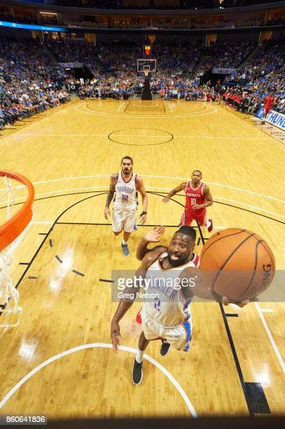 Oklahoma City Thunder Raymond Felton in action vs Houston Rockets during preseason game at BOK Center Tulsa OK CREDIT Greg Nelson