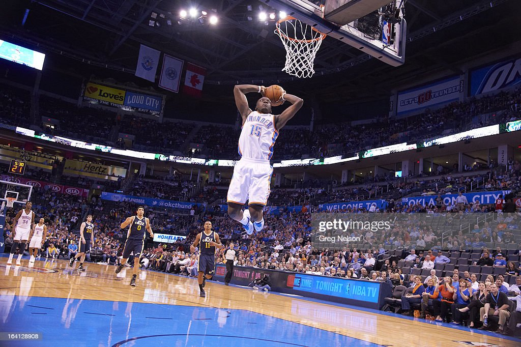Oklahoma City Thunder Reggie Jackson (15) in action, dunking vs Utah Jazz at Chesapeake Energy Arena. Greg Nelson F4 )