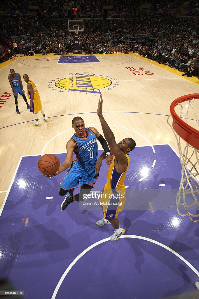 Oklahoma City Thunder Russell Westbrook (0) in action vs Los Angeles Lakers at Staples Center. John W. McDonough F30 )