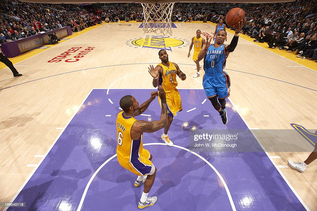 Oklahoma City Thunder Russell Westbrook (0) in action vs Los Angeles Lakers at Staples Center. John W. McDonough F50 )