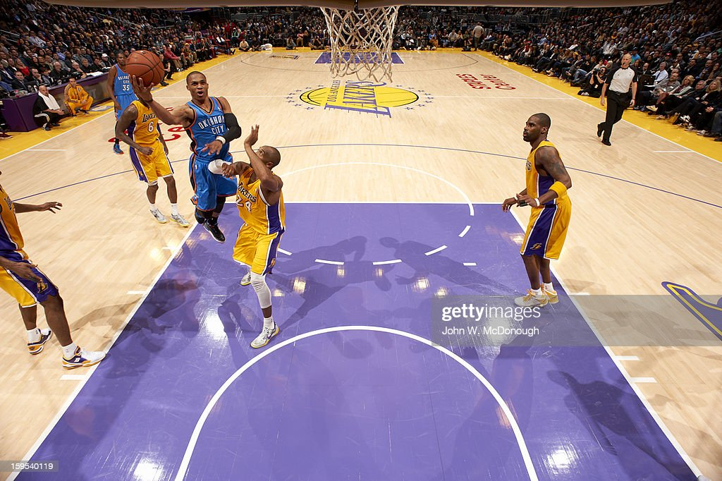 Oklahoma City Thunder Russell Westbrook (0) in action vs Los Angeles Lakers at Staples Center. John W. McDonough F52 )