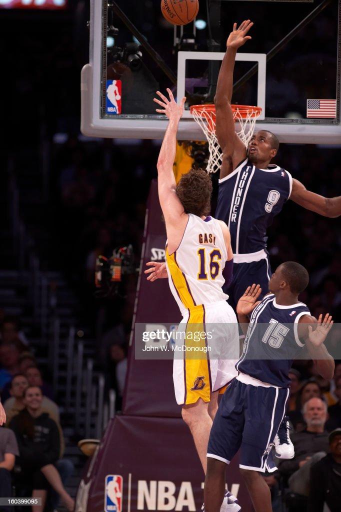Oklahoma City Thunder Serge Ibaka (9) in action, defense vs Los Angeles Lakers Pau Gasol (16) at Staples Center. John W. McDonough F642 )