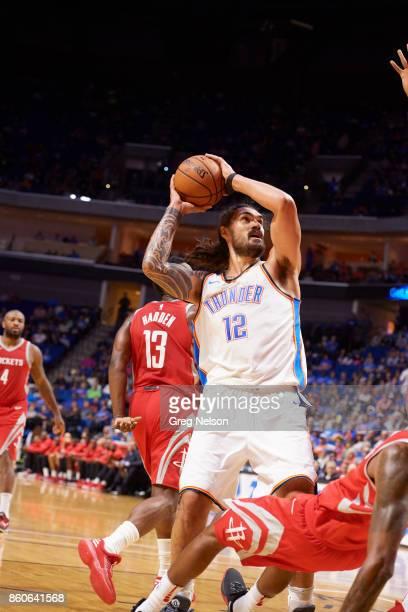 Oklahoma City Thunder Steven Adams in action vs Houston Rockets during preseason game at BOK Center Tulsa OK CREDIT Greg Nelson