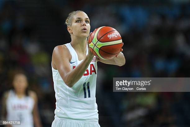 Day 15 Elena Delle Donne of United States shoots a free throw during the USA Vs Spain Women's Basketball Final at Carioca Arena1 on August 20 2016 in...