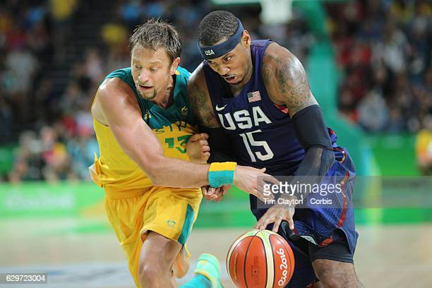 Day 5 Carmelo Anthony of United States drives to the basket defended by David Andersen of Australia during the USA Vs Australia game in the Men's...