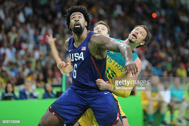 Day 5 DeAndre Jordan of United States and David Andersen of Australia challenge for position under the basket during the USA Vs Australia game in the...