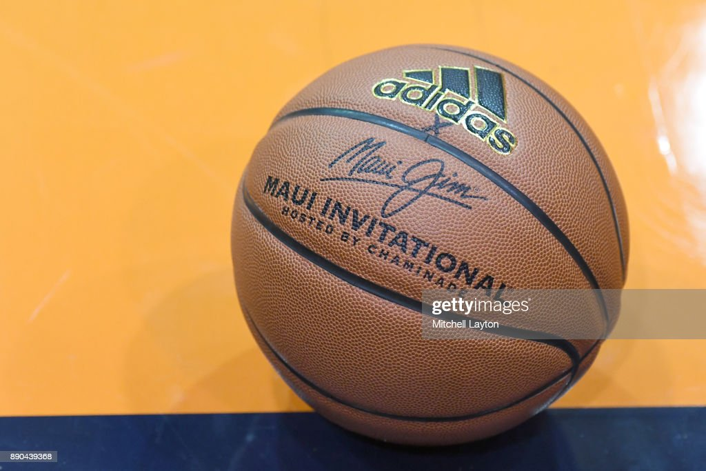 A basketball on the floor during a the championship of the Maui Invitational college basketball game between the Notre Dame Fighting Irish and the Wichita State Shockers at the Lahaina Civic Center on November 22, 2017 in Lahaina, Hawaii. The Fighting Irish won 67-66.