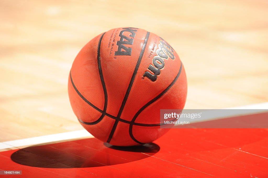 A basketball on the floor during the first round of the NIT Basketball Tournament game between the Niagara Purple Eagles and the Maryland Terrapins...