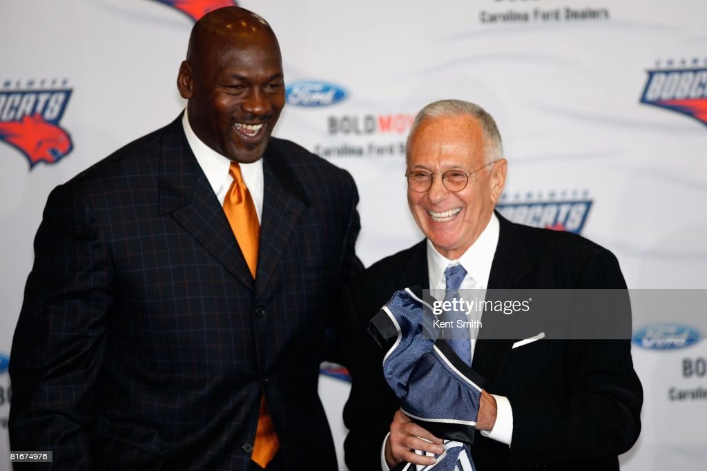 Basketball Operations Manager Michael Jordan and new head coach Larry Brown of the Charlotte Bobcats smiles at a press conference on April 29, 2008 at the Time Warner Cable Arena in Charlotte, North Carolina.
