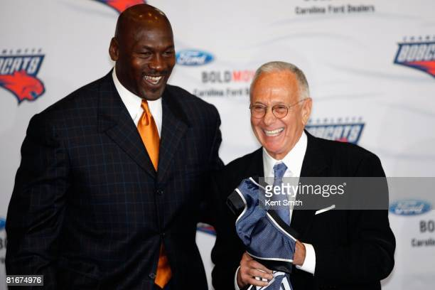 Basketball Operations Manager Michael Jordan and new head coach Larry Brown of the Charlotte Bobcats smiles at a press conference on April 29 2008 at...
