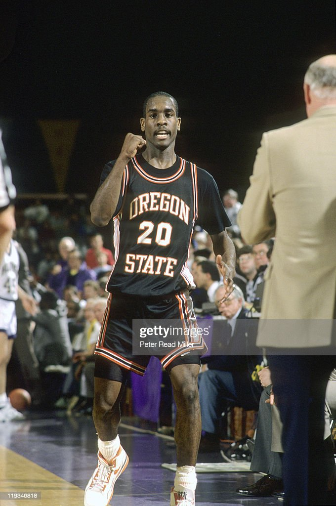 Oregon State <a gi-track='captionPersonalityLinkClicked' href=/galleries/search?phrase=Gary+Payton&family=editorial&specificpeople=201500 ng-click='$event.stopPropagation()'>Gary Payton</a> (20) victorious during game vs Washington at Gill Coliseum. Peter Read Miller F28 )