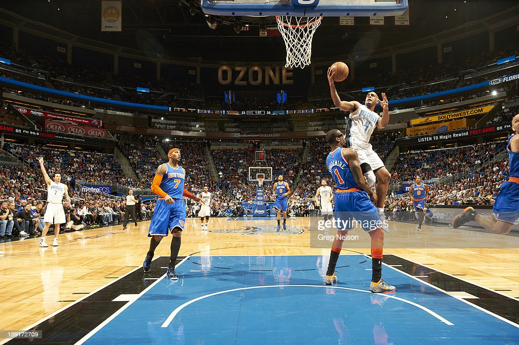 Orlando Magic Arron Afflalo (4) in action vs New York Knicks at Amway Center. Greg Nelson F19 )