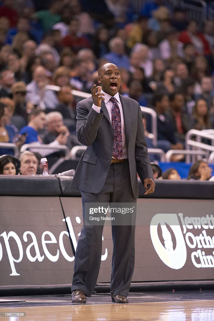 Orlando Magic coach Jacque Vaughn during game vs New York Knicks at Amway Center. Greg Nelson F137 )