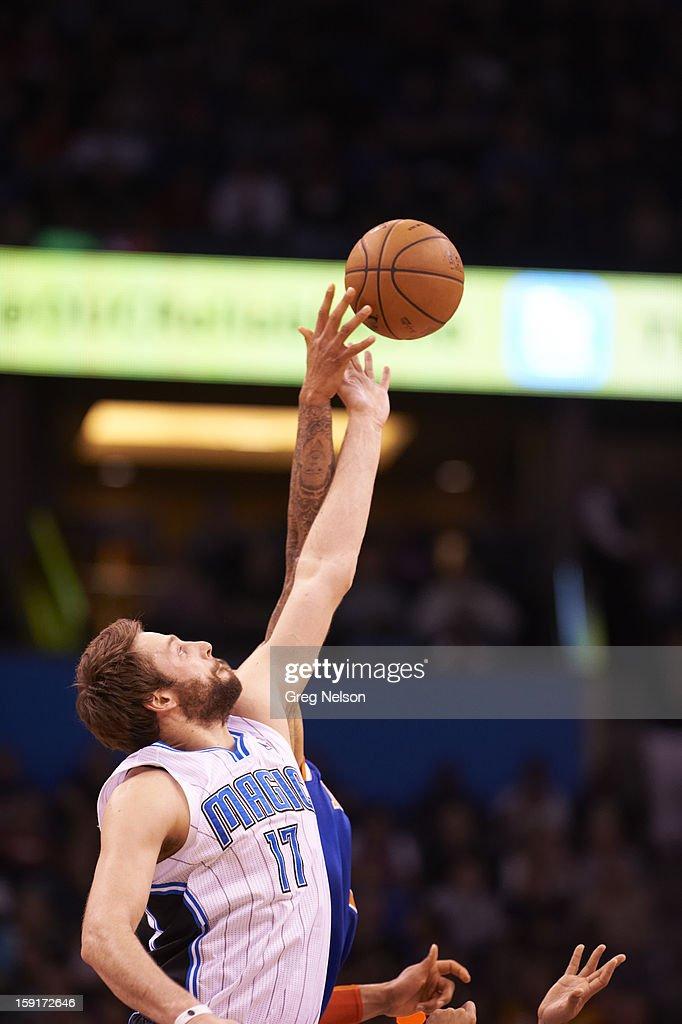 Orlando Magic Josh McRoberts (17) in action vs New York Knicks at Amway Center. Greg Nelson F158 )