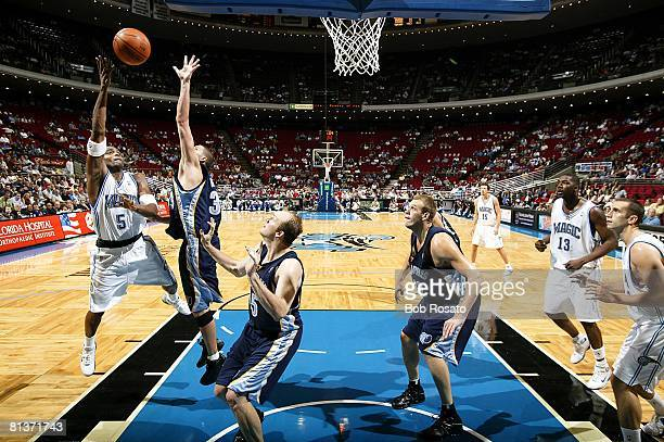 Basketball Orlando Magic's Cutino Mobley in action vs Memphis Grizzlies Mike Miller during preseason Orlando FL