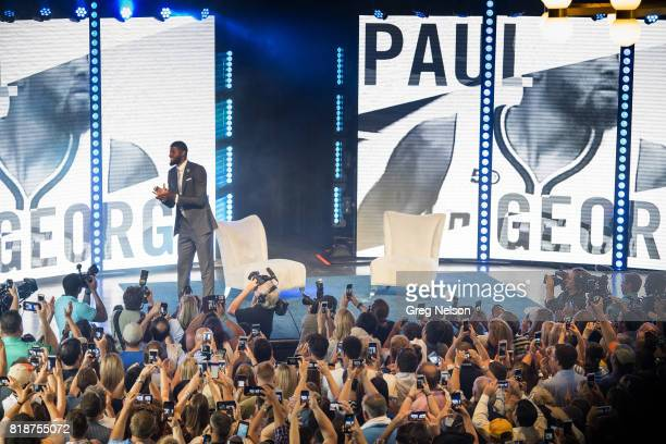 Overall view of Oklahoma City Thunder forward Paul George on stage during introductory interview and welcoming reception at Jones Assembly Oklahoma...