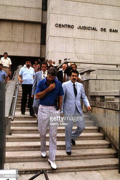 Pan Am Games USA coach Bobby Knight walking out of courthouse at Centro Judicial de San Juan Knight allegedly assualted a police officer before a...