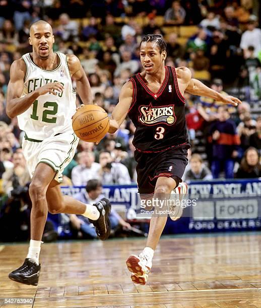 Philadelphia 76ers Allen Iverson in action vs Boston Celtics Bruce Bowen at Boston Garden Boston MA CREDIT Steve Lipofsky