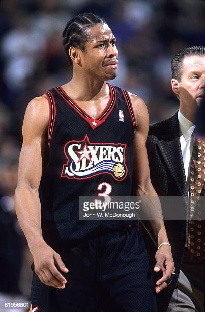 Philadelphia 76ers Allen Iverson on court during game vs Phoenix Suns Phoenix AZ 2/24/1998 CREDIT John W McDonough