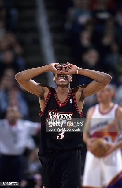 Philadelphia 76ers Allen Iverson upset on court during game vs Phoenix Suns Phoenix AZ 2/24/1998 CREDIT John W McDonough