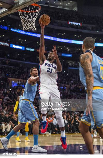 Philadelphia 76ers Joel Embiid in action layup vs Los Angeles Lakers at Staples Center Los Angeles CA CREDIT John W McDonough