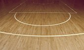 Wooden Floor of Basketball Court