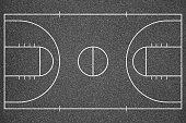 Basketball court top view. Asphalt background