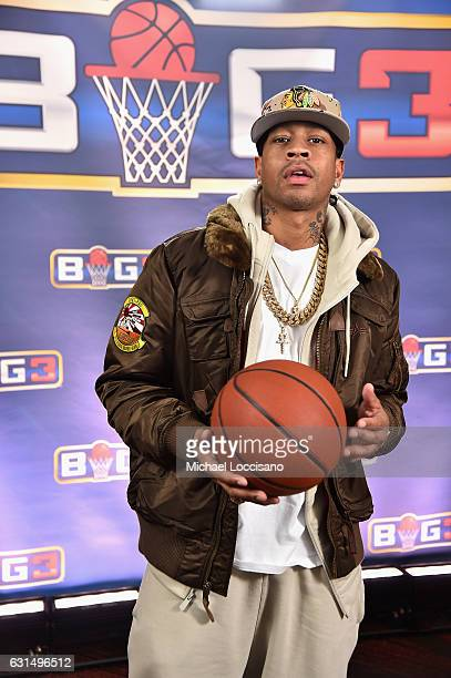 Basketball player Allen Iverson attends a press conference announcing the launch of the BIG3 a new professional 3on3 basketball league on January 11...