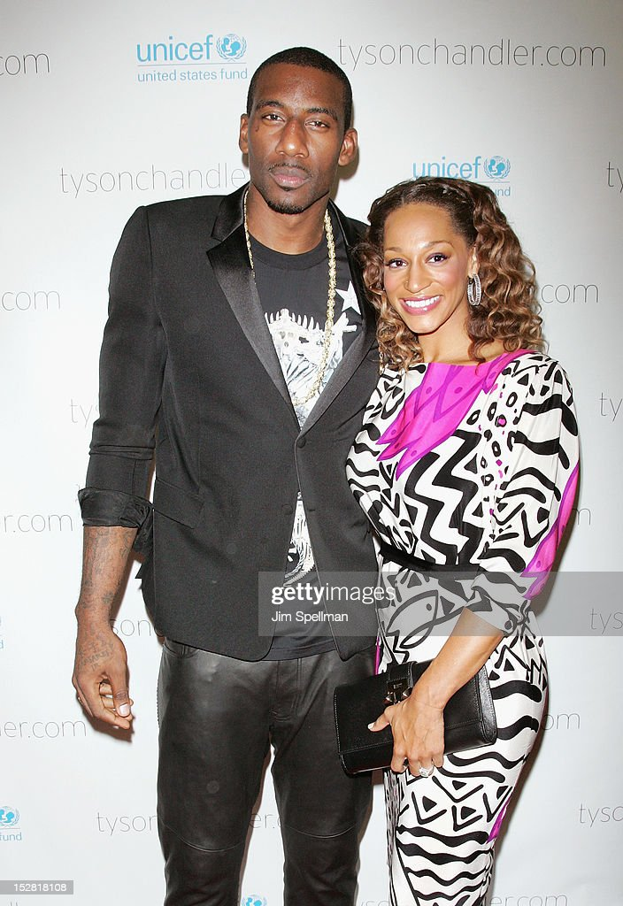NBA basketball player Amare Stoudemire and Alexis Welch attend 'A Year In A New York Minute' Photo Exhibition at Canoe Studios on September 26, 2012 in New York City.