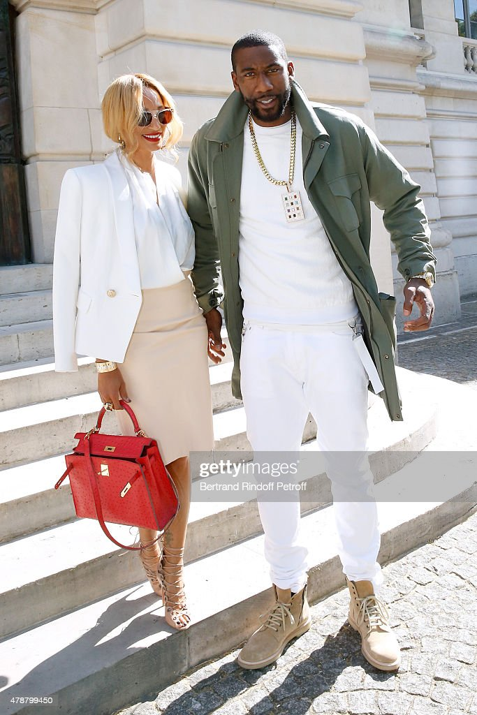 Basketball player, Amar'e Stoudemire and his wife Alexis attend the Balmain Menswear Spring/Summer 2016 show as part of Paris Fashion Week on June 27, 2015 in Paris, France.