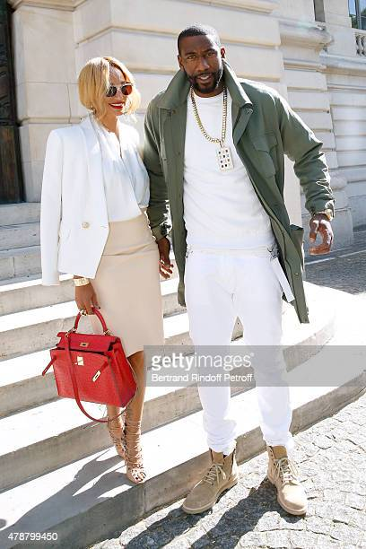 Basketball player Amar'e Stoudemire and his wife Alexis attend the Balmain Menswear Spring/Summer 2016 show as part of Paris Fashion Week on June 27...
