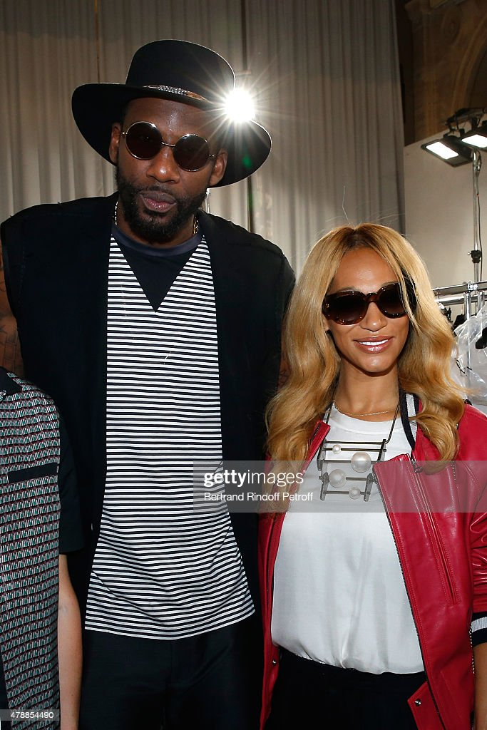 Basketball player, Amar'e Stoudemire and his wife Alexis pose Backstage prior the Lanvin Menswear Spring/Summer 2016 show as part of Paris Fashion Week. Held at 'Ecole Nationale Superieure des Beaux Arts' on June 28, 2015 in Paris, France.