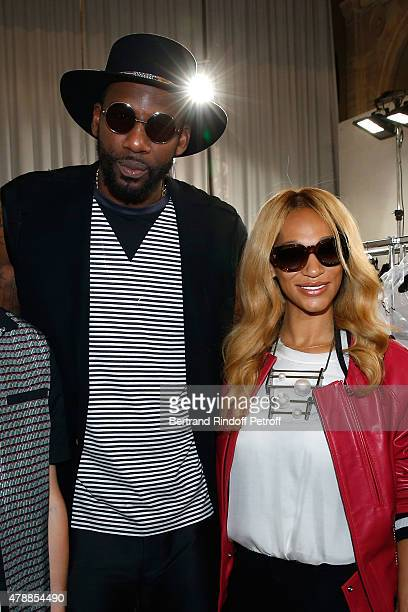 Basketball player Amar'e Stoudemire and his wife Alexis pose Backstage prior the Lanvin Menswear Spring/Summer 2016 show as part of Paris Fashion...