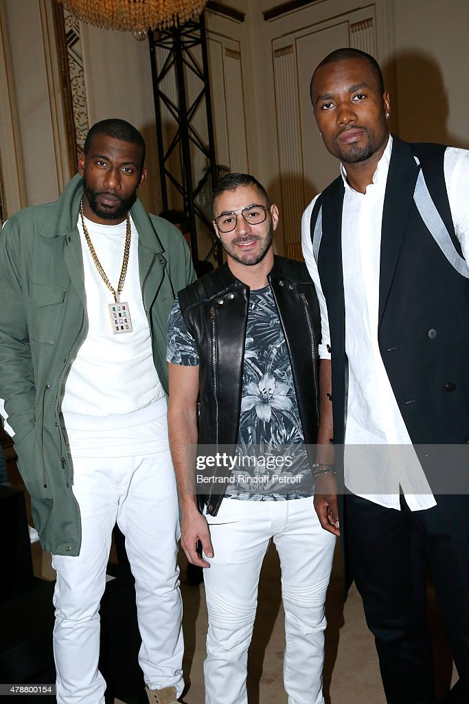 Basketball player, Amar'e Stoudemire, Football Player Karim Benzema and Basketball Player Serge Ibaka attend the Balmain Menswear Spring/Summer 2016 show as part of Paris Fashion Week on June 27, 2015 in Paris, France.