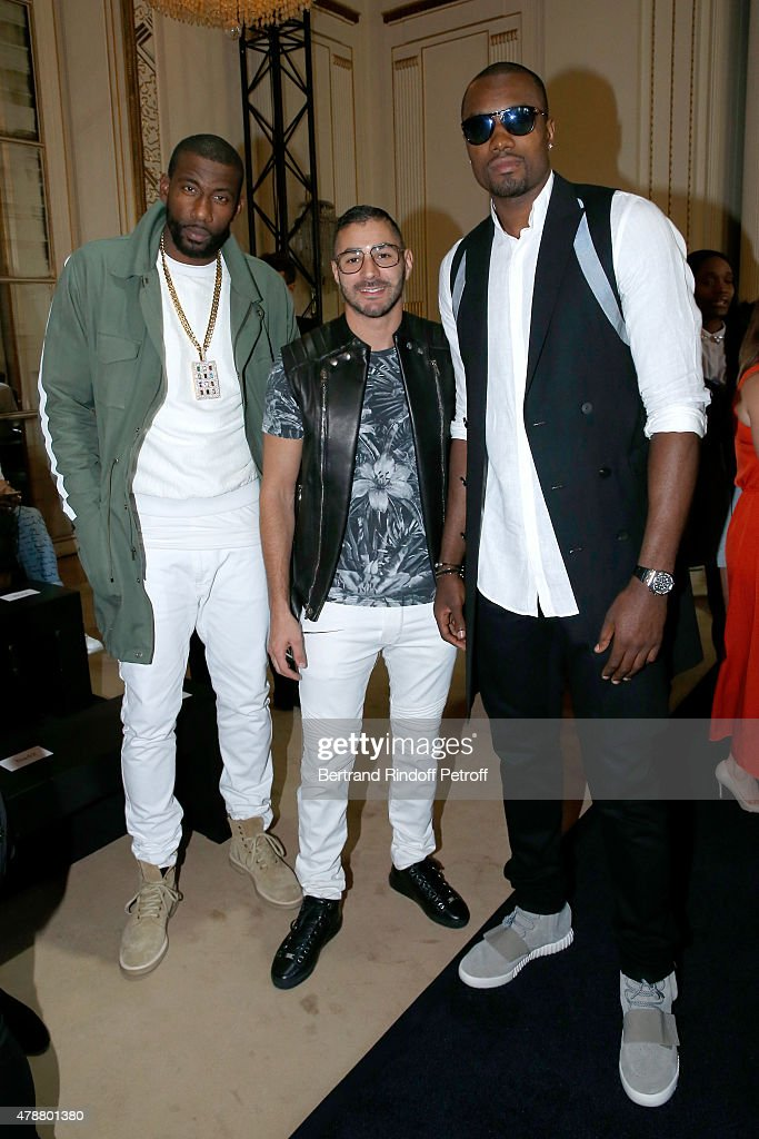 Basketball player, <a gi-track='captionPersonalityLinkClicked' href=/galleries/search?phrase=Amar%27e+Stoudemire&family=editorial&specificpeople=201492 ng-click='$event.stopPropagation()'>Amar'e Stoudemire</a>, Football Player <a gi-track='captionPersonalityLinkClicked' href=/galleries/search?phrase=Karim+Benzema&family=editorial&specificpeople=796089 ng-click='$event.stopPropagation()'>Karim Benzema</a> and Basketball Player <a gi-track='captionPersonalityLinkClicked' href=/galleries/search?phrase=Serge+Ibaka&family=editorial&specificpeople=5133378 ng-click='$event.stopPropagation()'>Serge Ibaka</a> attend the Balmain Menswear Spring/Summer 2016 show as part of Paris Fashion Week on June 27, 2015 in Paris, France.