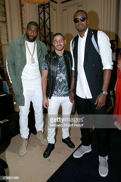 Basketball player Amar'e Stoudemire Football Player Karim Benzema and Basketball Player Serge Ibaka attend the Balmain Menswear Spring/Summer 2016...